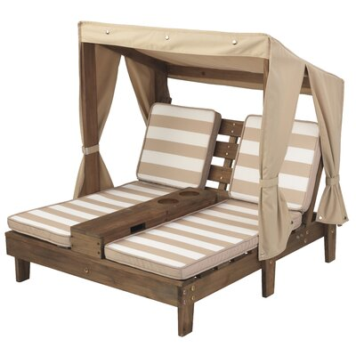 Double Kids' Chaise Lounge with Cup Holders Cushion: Espresso/Oatmeal 00534