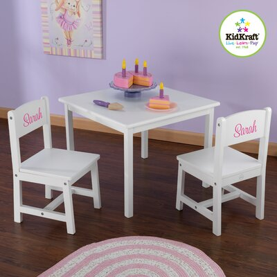 Personalized Aspen Kids' 3 Piece Table and Chair Set 21201