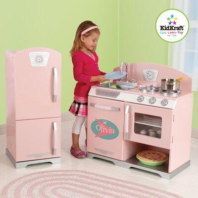 Kidkraft Personalized Pink Retro Kitchen Refrigerator