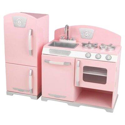 2 Piece Retro Kitchen & Refrigerator Set Color: Pink