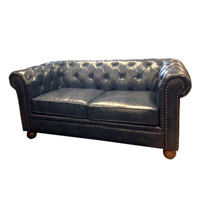 Winston Chesterfield Loveseat Upholstery: Blue