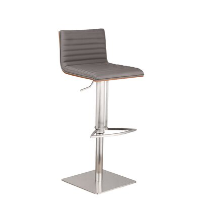 Caf� Adjustable Height Swivel Bar Stool Upholstery: Gray, Base Finish: Brushed Stainless Steel