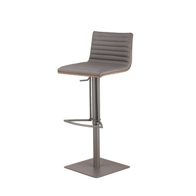 Caf� Adjustable Height Swivel Bar Stool Base Finish: Gray Painted Metal, Upholstery: Gray