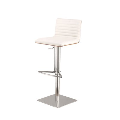 Caf� Adjustable Height Swivel Bar Stool Base Finish: Brushed Stainless Steel, Upholstery: White
