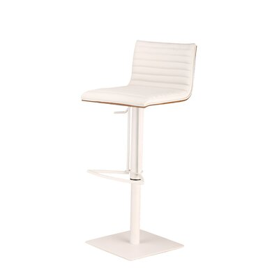 Caf� Adjustable Height Swivel Bar Stool Base Finish: White Painted Metal, Upholstery: White