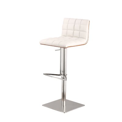 Oslo Adjustable Height Swivel Bar Stool Upholstery: White