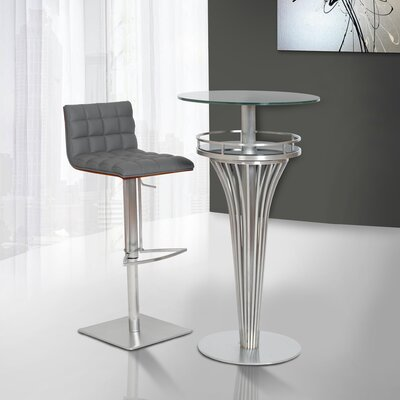 Oslo Adjustable Height Swivel Bar Stool Upholstery: Gray