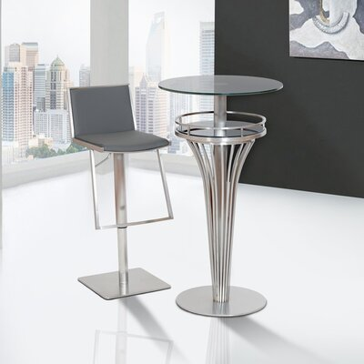 Ibiza Adjustable Height Swivel Bar Stool Upholstery: Gray