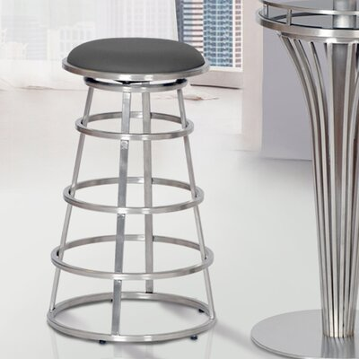 Ringo 30 Bar Stool Upholstery: White, Base Finish: Gray Painted Metal