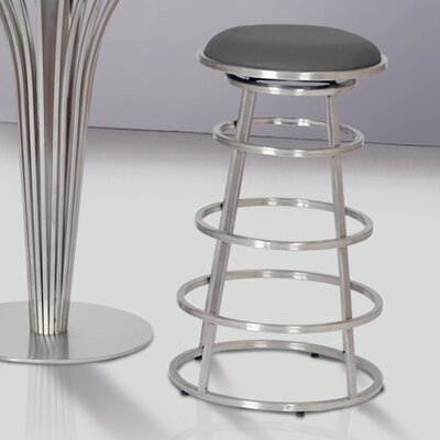 Ringo 26 inch Bar Stool Upholstery: Gray, Base Finish: Brushed Stainless Steel