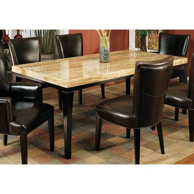 Armen Living M22 Chocolate Travertine Rectangular Dining Table in Espresso Best Price