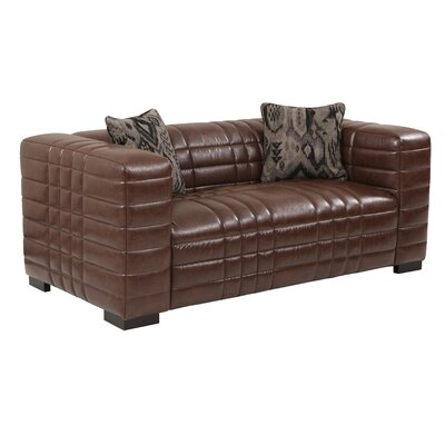 LCMX2BR AMLC1018 Armen Living Maxton Leather Loveseat