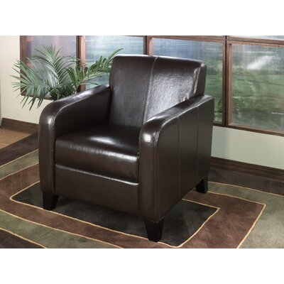 """Armen Living 30"""" Bycast Leather Club Chair in Brown - Sofa and Chair Shop"""