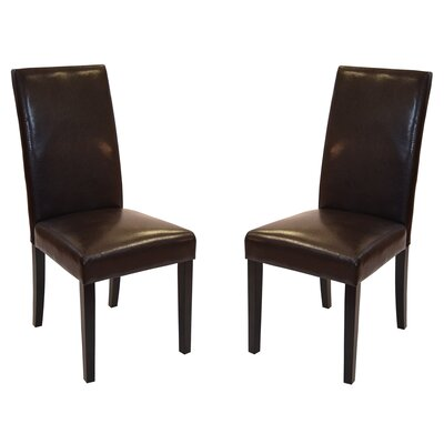 Genuine Leather Upholstered Dining Chair Upholstery: Brown