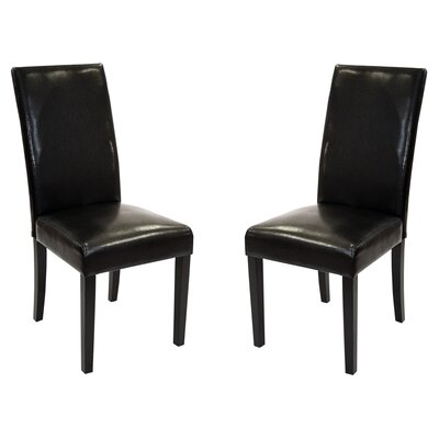 Genuine Leather Upholstered Dining Chair Upholstery: Black