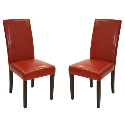 Genuine Leather Upholstered Dining Chair Upholstery: Red