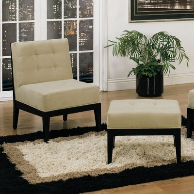Armen Living Dupont Armless Microfiber Chair and Ottoman Set - Sofa and Chair Shop