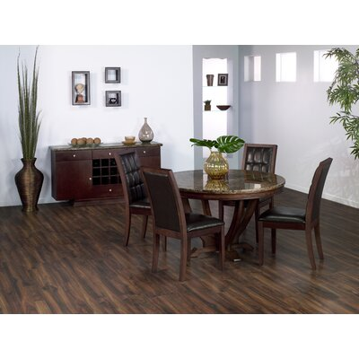 Armen Living Obliq Verona 5 Piece Round Dining Table Set in Antique Walnut Best Price