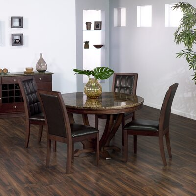 Armen Living Obliq Verona Round Dining Table in Antique Walnut Best Price