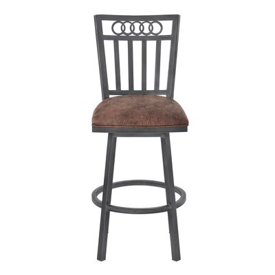 Oakland 26 Swivel Bar Stool Upholstery: Bandero Tobacco, Finish: Mineral