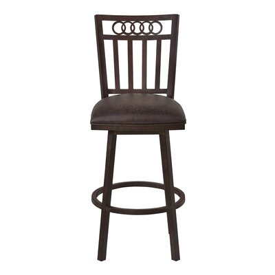 Oakland 26 Swivel Bar Stool Upholstery: Bandero Espresso, Finish: Auburn Bay