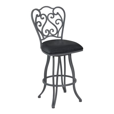 Margie 26 Swivel Bar Stool Upholstery: Fabric - Bandero Espresso, Finish: Auburn Bay
