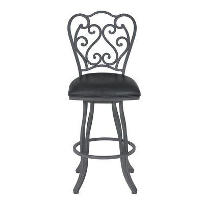 Margie 26 Swivel Bar Stool Upholstery: Faux Leather - Vintage Black, Finish: Cadet Gray