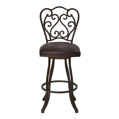 Margie 30 Swivel Bar Stool Upholstery: Fabric - Bandero Espresso, Finish: Auburn Bay