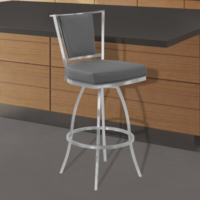Halie Swivel 30 Bar Stool Upholstery: Gray