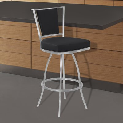 Halie Swivel 30 Bar Stool Upholstery: Black
