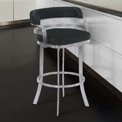 Depaul Swivel 26 Bar Stool Upholstery: Black