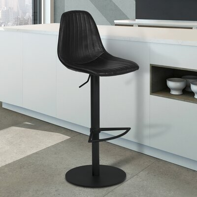 Breann Adjustable Height Swivel Bar Stool Upholstery: Vintage Black, Base Color: Black Powder Coat