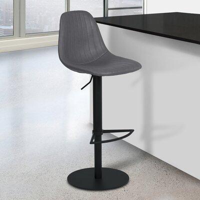 Breann Adjustable Height 21.65 Swivel Bar Stool Upholstery: Vintage Gray, Finish: Black Powder Coat
