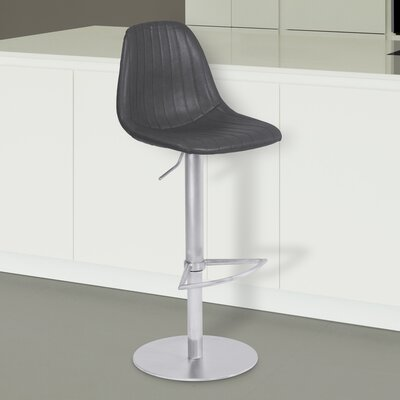 Breann Adjustable Height Swivel Bar Stool Upholstery: Vintage Gray, Base Color: Brushed Stainless Steel