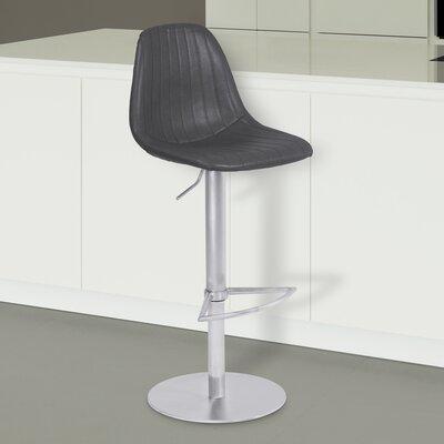 Breann Adjustable Height 21.65 Swivel Bar Stool Upholstery: Vintage Gray, Finish: Brushed Stainless Steel