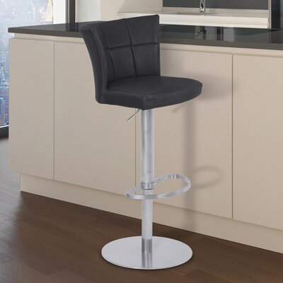 Denison Adjustable Height Bar Stool Finish: Brushed Stainless Steel, Upholstery: Vintage Black