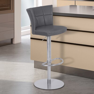 Denison Adjustable Height Bar Stool Finish: Brushed Stainless Steel, Upholstery: Vintage Gray