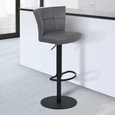 Denison Adjustable Height Bar Stool Finish: Black Powder Coated Steel, Upholstery: Vintage Gray