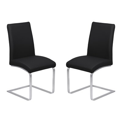 Hammond Contemporary Dining Side Chair Upholstery: Black