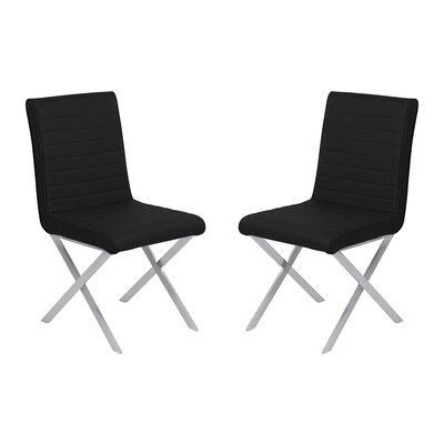Hawkins Contemporary Dining Side Chair Upholstery: Black