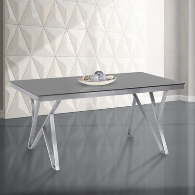Haleigh Tempered Glass Top Contemporary Dining Table