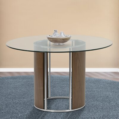 Darius Round Dining Table Top Finish: Clear, Base Finish: Walnut Veneer