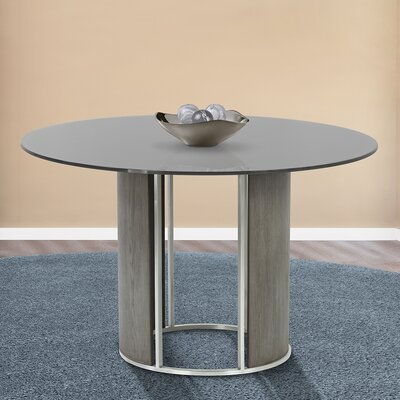 Darius Round Dining Table Top Finish: Gray, Base Finish: Gray Walnut Veneer