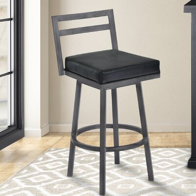 Lexis 26 Swivel Bar Stool Upholstery: Ford Black