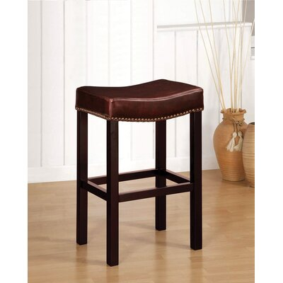 Easy financing Tudor Backless Leather Barstool in ...