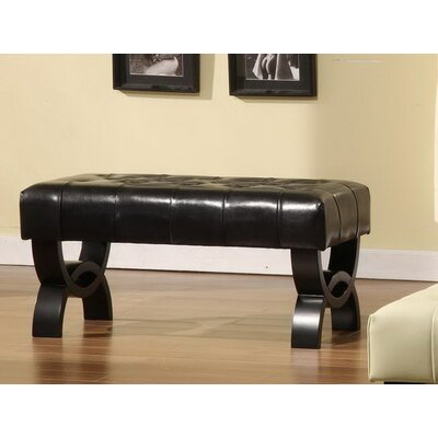 Central Park Leather Ottoman Upholstery: Black