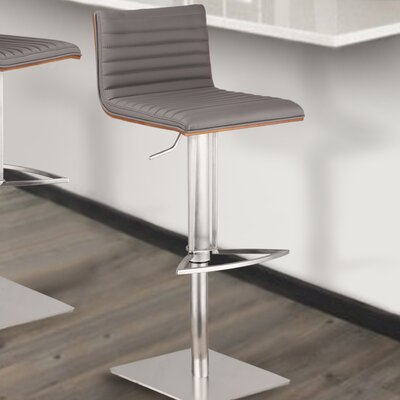Caf� Adjustable Height Swivel Bar Stool Base Color: Brushed Stainless Steel, Upholstery: Gray