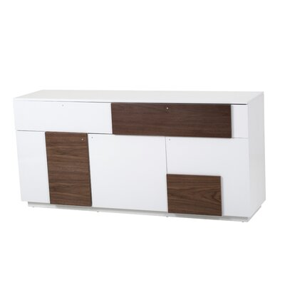 Centrix Sideboard Color: Walnut and White Lacquer