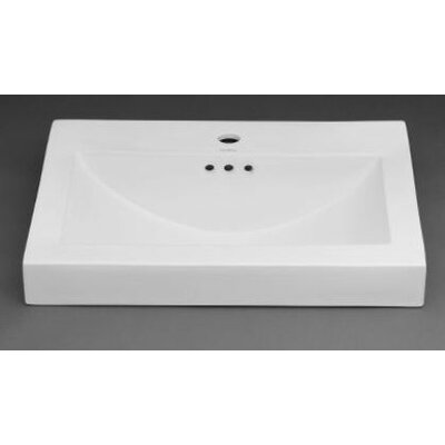 Ronbow Ceramic Rectangular Vessel Bathroom Sink with Overflow Faucet Mount: Single Hole