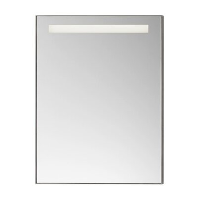 "Contemporary 22"" x 30"" Metal Framed Bathroom Mirror w/LED in Brushed Nickel"